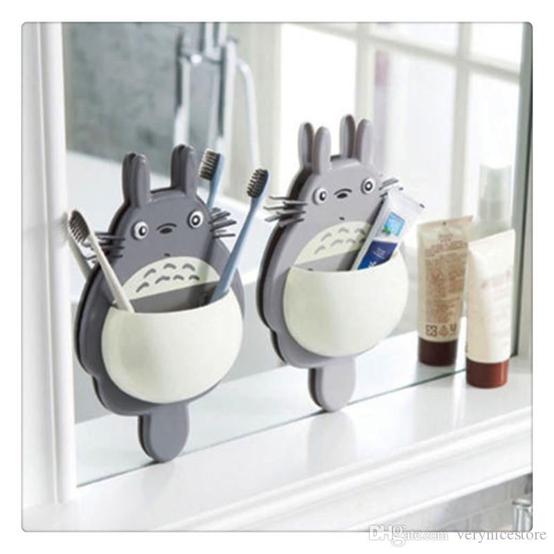 Cute Cartoon Kids Toothbrush Toothpaste Holder Wall Mounted Suction Cup Tool