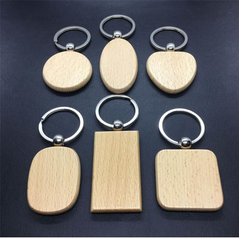 Natural Wood keychain Simple Style Wood Key Chains Key Rings DIY Wooden Round Square Heart Shape Key Pendant Handmade Keyrings Gift G199F