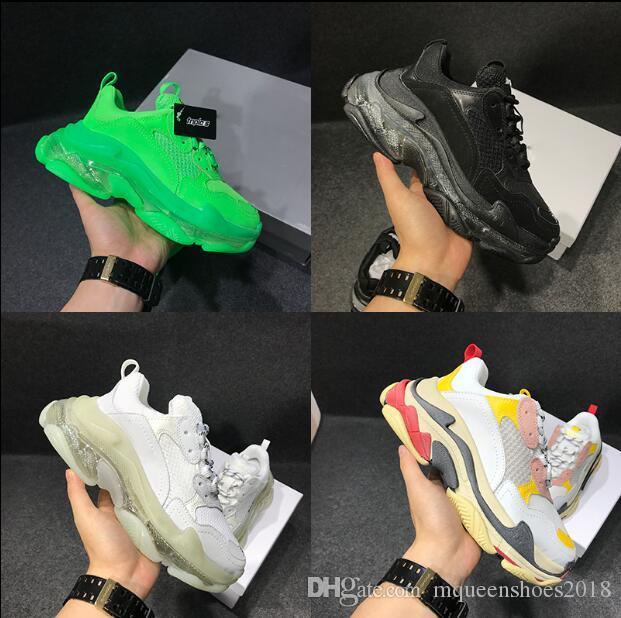باريس 2019 كريستال أسفل الثلاثي-S تجميل أحذية أبي منصة أحذية الثلاثي S احذية رجال نساء خمر كاني قديم الجد المدرب