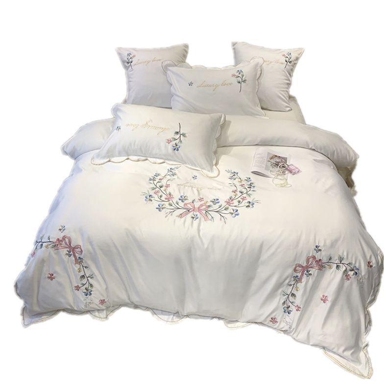 Moda işlemeli yatak ayarlamak Saf yıkandı ipek çift taraflı model Basitlik Yatak levha, nevresim yastık 4 adet