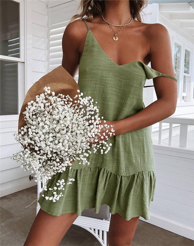 Mini vestido del verano de la correa del hombro Tamaño Amarillo Blanco volante Plus ocasionales flojas de lino Vestido de tirantes de la playa vestido atractivo de las mujeres