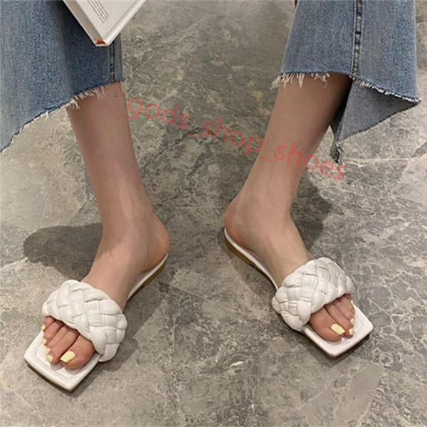 Bottega Veneta slippers 여름 휴가 여성 슬리퍼 여성 광장 발가락 오픈 발가락 신발 여성 낮은 셰일 여자 비치 새로운 플랫 섹시한 슬라이드 로마 샌들