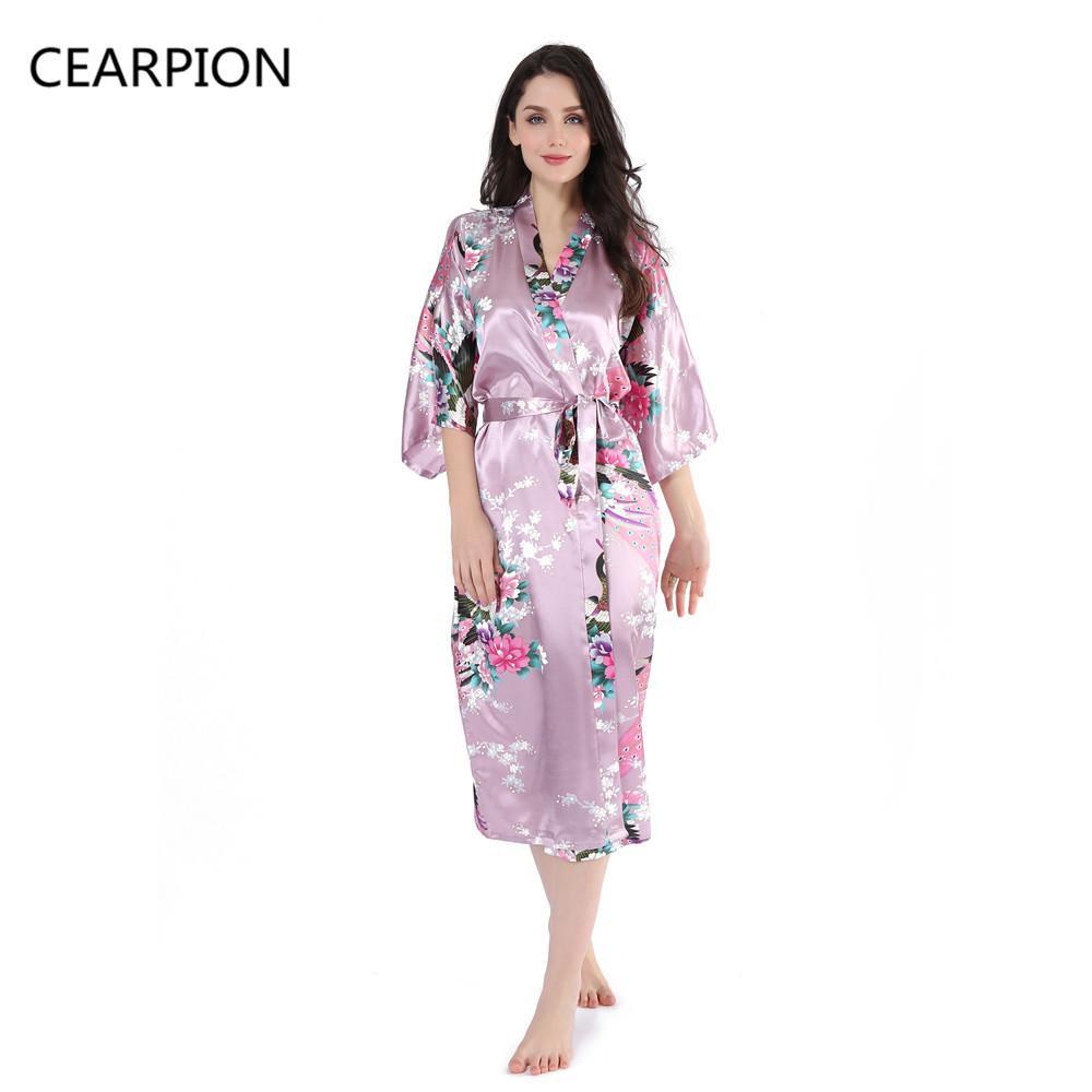 CEARPION Abito lungo da donna sexy in raso Kimono Abito da notte Camicie da donna Fiore Accappatoio Accappatoio Pigiami Abbigliamento per la casa
