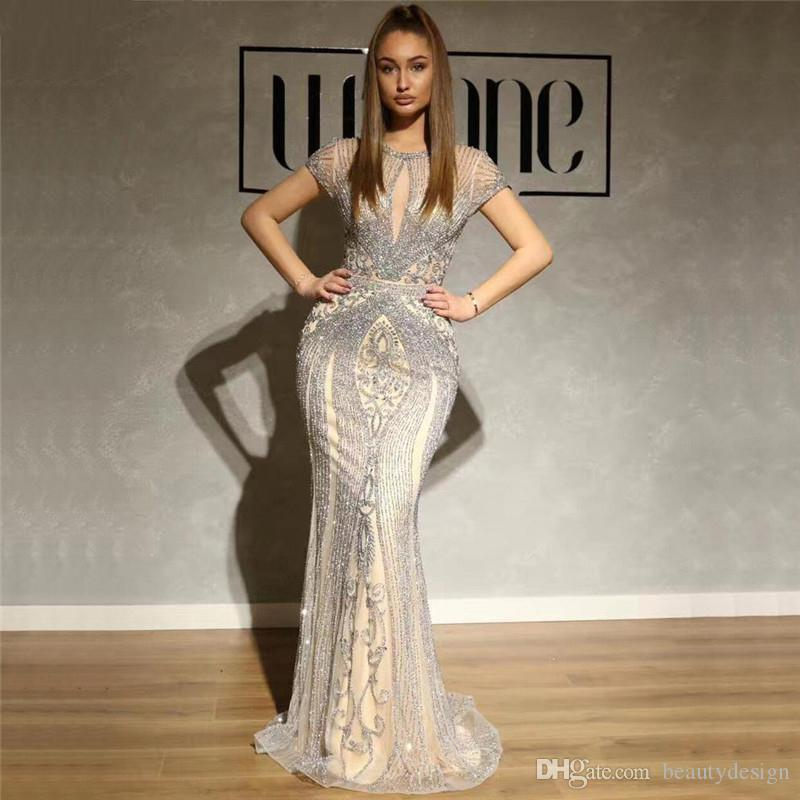 Luxury Crystals Beads Mermaid Evening Dresses Sexy O Neck Short Sleeves Floor Vestidos Tulle Long Party Prom Dresses BM1622