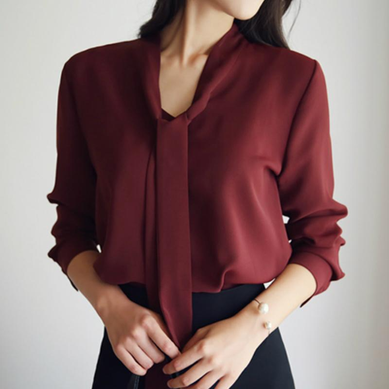 blusas mujer de moda 2020 Bow V-neck office blouse ladies tops chiffon blouse shirt tops women long sleeve women A137