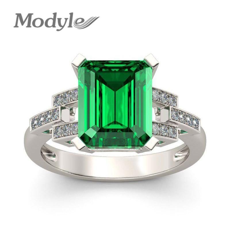 Vagzeb 2019 New White Gold Color Ring Art und Weise Grün-große quadratische Kristall Hochzeit Schmucksachen für Großhandelsfrauen