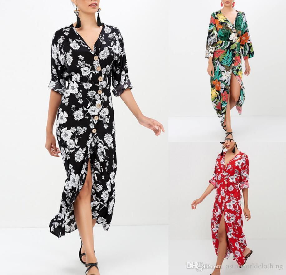 Plaj Seaside Günlük Elbise Tatil Giyim Yaz Kadınlar Çiçek Bohemian Elbiseler Moda