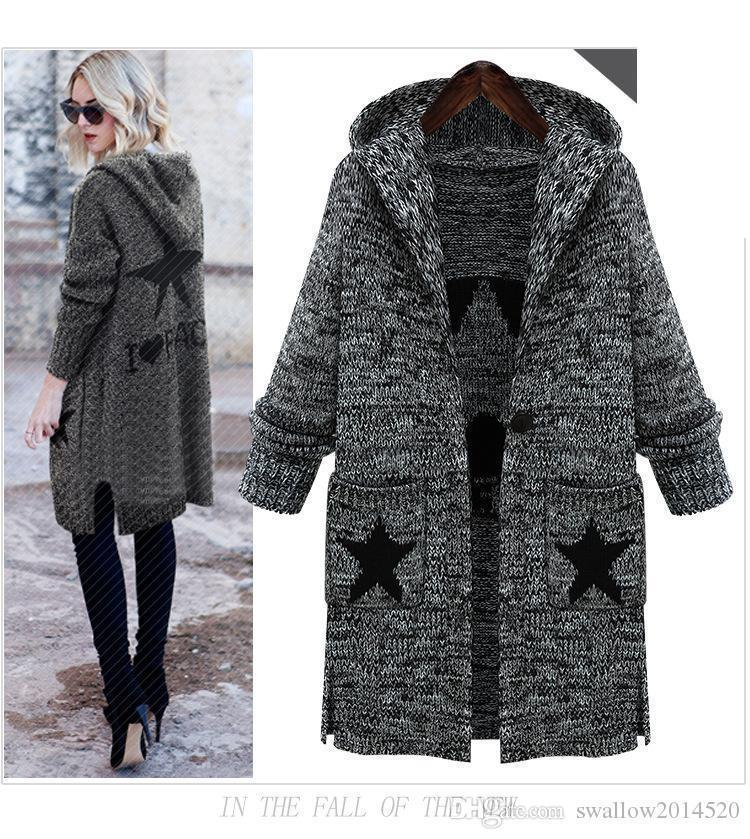Hoodied I LOVE PEACE STAR Women's Thick Cardigans Cardigan Sweaters Female Loose Knit Long Clothing Women Sexy Sweater Co