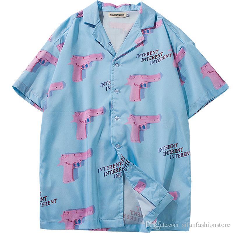 Casual Baskılı Kısa Gömlek Erkekler Sokak Hawaii Beach Kadınlar Moda Kısa Kollu Gömlek Harujuku Mens