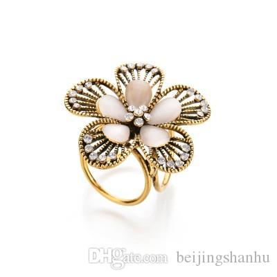 Real Shooting Vintage Crystal Flowers Brooches For Women Camellia Boutonniere Opal Tricyclic Scarf Buckle b182