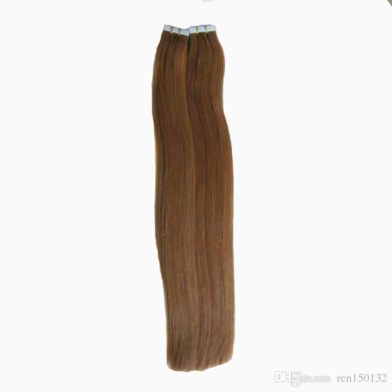 Fita 100% não-remy do ser humano do russo no cabelo humano de trama da pele das extensões 100G 40Pcs do cabelo