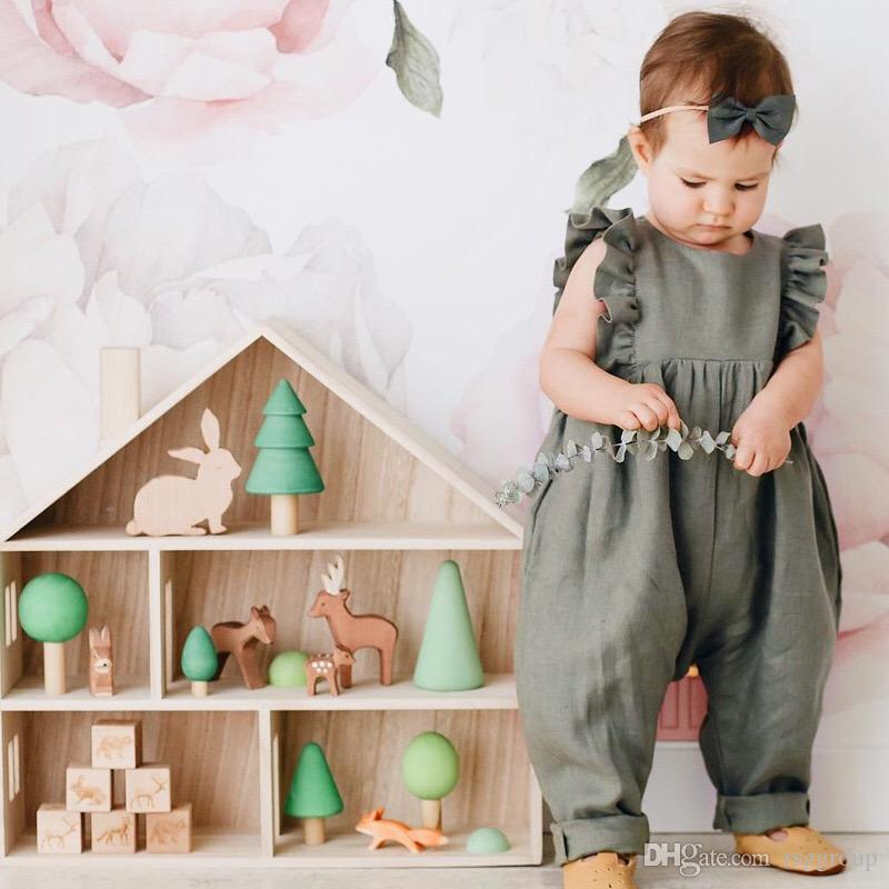 Free DHL INS Baby Girls Overalls Pants Kids Girls Rompers Pink Yellow Solid Toddler Outfits Sleeveless Belt Baby Girls Boys Bib Pants