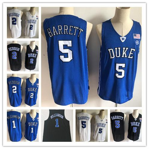 2019 New Duke Blue Devils NCAA RJ Barrett Jerseys para hombre # 1 Zion Williamson 2 Cam rojizo Bagley Royal Black White College Jersey de baloncesto