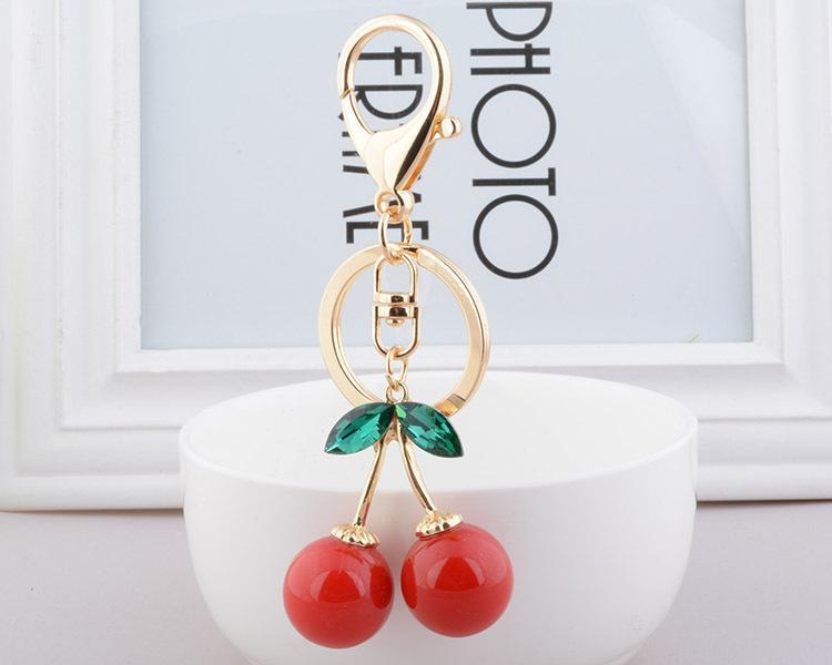 Crystal red Cherry metal Keychains Rhinestone Purse Handbag Ornaments Key Chain Ring Pendants Car Key Chain