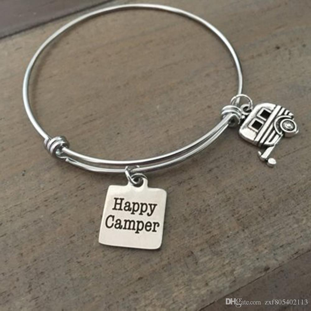 Camping Happy Camper Bracelet Extensible Bangle Bracelet Breloque Bijoux