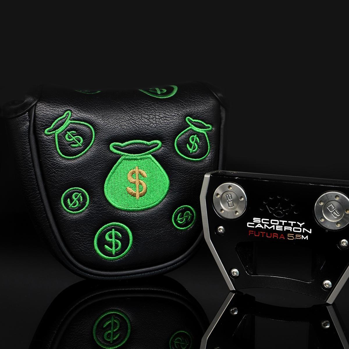 Pelle Golf Mallet Putter Headcovers Golf Club Capo copertura del cuoio della Golf Putter copertura dollaro USA Green Design nkHdC