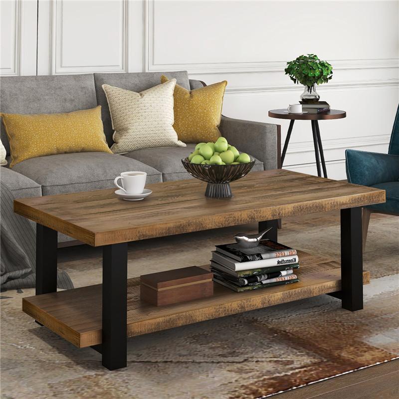 Envío rápido natural rústica mesa de centro de almacenamiento del estante de la sala de la Asamblea Fácil rectángulo muebles de la sala de estar