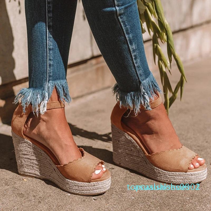 Women's Ladies Peep Toe Wedge Sandals Women High Heel Buckle Causal Shoes Sandals Platform Heels Female Shoes t02