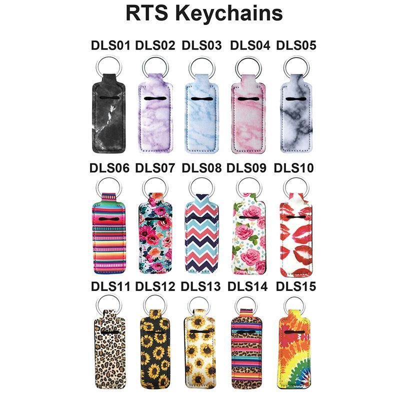 15styles RTS Keychain Stilvolle Neopren Chapstick Halter gedruckt Handlich Lippenbalsam Schlüsselanhänger Neopren-Lippenstift-Halter-Beutel Keychain FFA4097