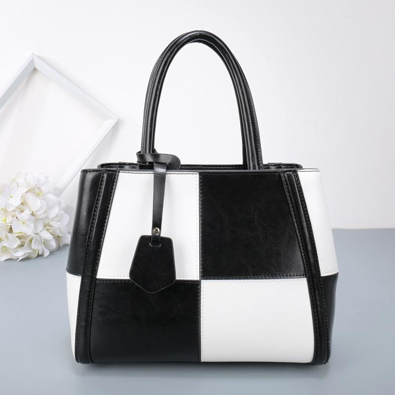 Elegant2019 Handbag Ma'am Single Shoulder Span Package Black And White Hit Color Genuine Leather Trend Bag