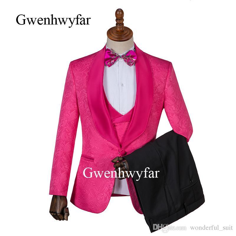 Gwenhwyfar populaire Hot Pink hommes costume de jacquard pour la partie 3 pièces Costume Homme Smokings Blazer Vest Pantalon Slim Fit Hommes