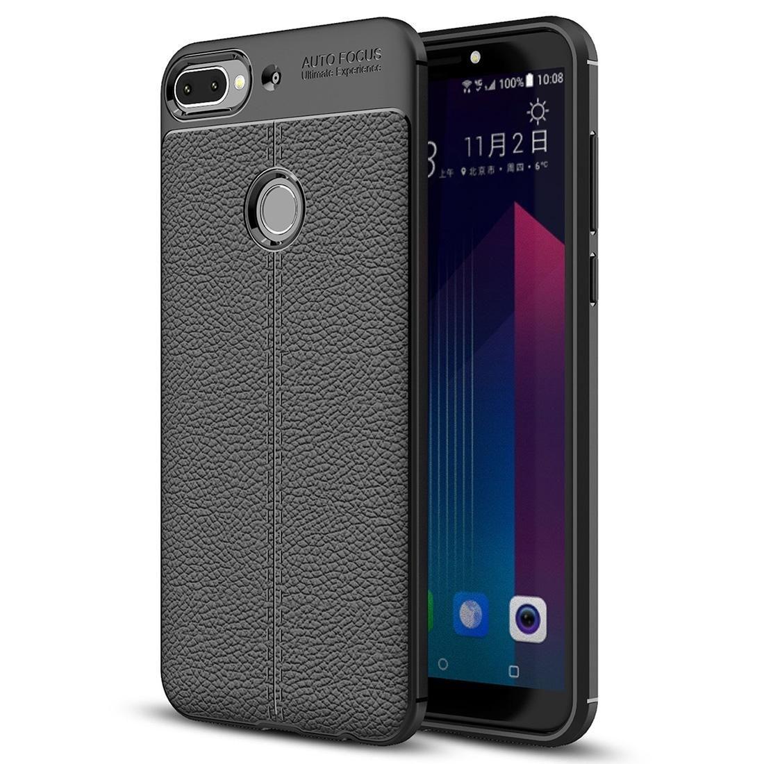 Per HTC Desire Custodia 12+ Litchi texture morbida di TPU protettivo di copertura posteriore