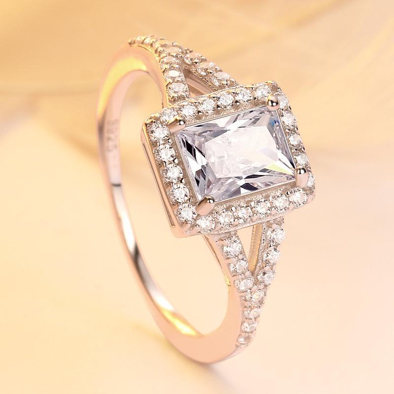 Solido argento 925 anelli d'argento per i monili del regalo delle donne di rettangolo zircone scintillante Wedding Band Birthstone partito S925