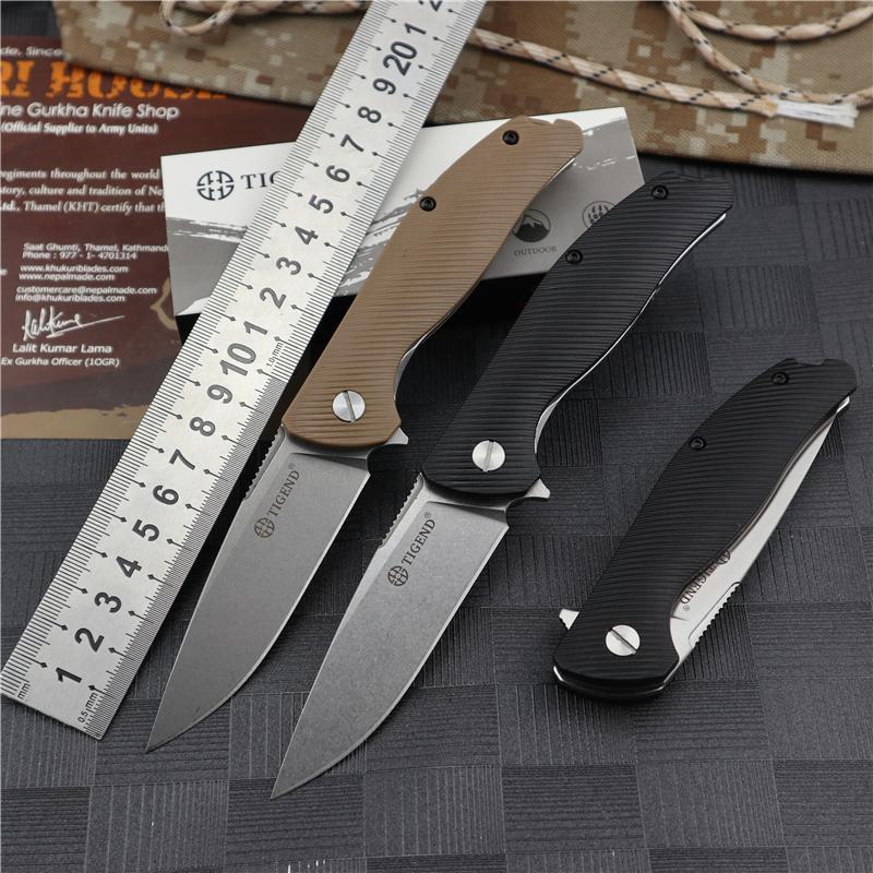 TIGEND 1810 Bıçak Bıçakları Katlanır Cep Sabit Bıçak Bıçaklar Avcılık Bıçak Survival EDC Utility Açık Taktik G10 Rulman D2 Çelik