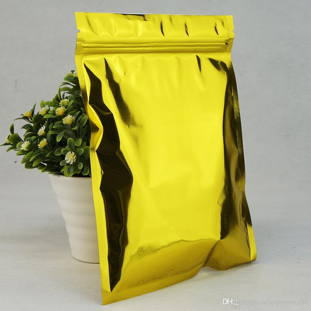 Bolso de paquete de cierre de cremallera de aluminio dorado brillante bolsa de envasado de alimentos con cierre de bolsa de plástico con cierre de mylar bolsa de plástico