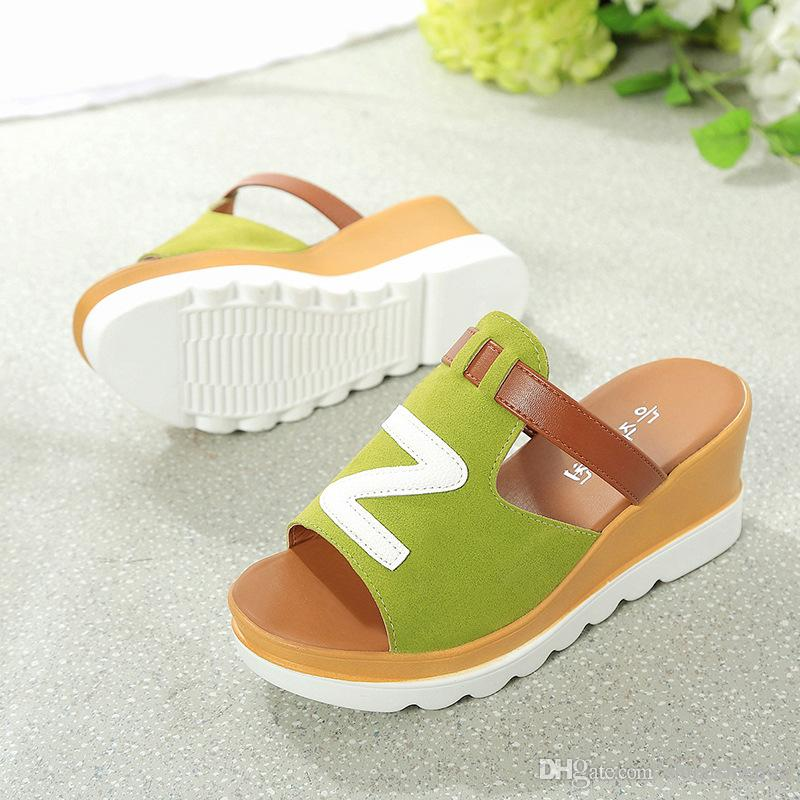 Ladies fashion casual shoes Summer Sandals Slipper Beach shoes White/black/grey Non-slip rubber sole Women shoes Work/home Wedge Platforms