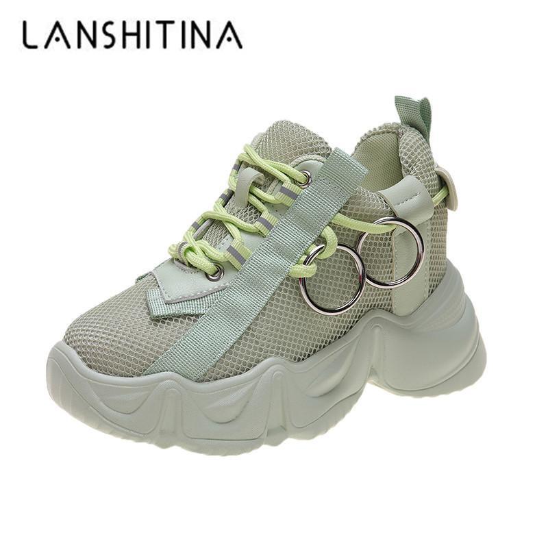 Las mujeres Chunky las zapatillas de deporte 2020 las zapatillas de deporte de malla transpirable Plataforma señoras acuña los zapatos ocasionales para los deportes papá Mujer Zapatos de cuero 9.5cm