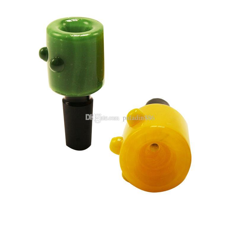 Großhandel Bunt 14mm 18mm Mal Glasschüssel für Shishas Bohrinsel Dab Rig Glas Bubbler Und Aschfänger Glas Wasser Bong