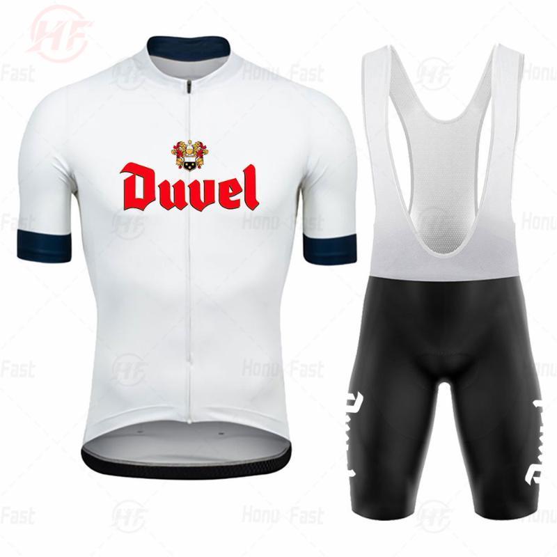 Duvel пиво белого задействуя Джерси набор 2020 про команду задействуя одежда 19D гель дышащего площадку ROAD горного велосипед износ гоночной одежды