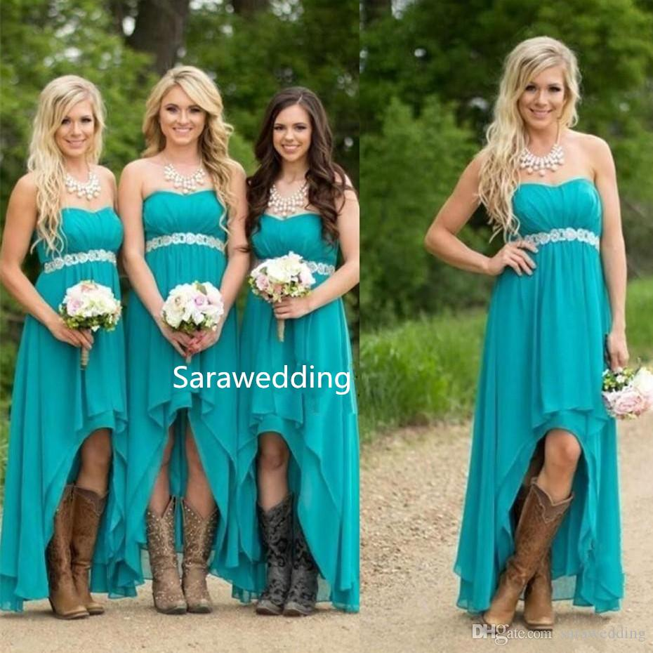 Country Bridesmaid Dresses 2019 Teal Turquoise Chiffon High Low Party Dress Wedding Guest Maid Honor Gowns for Bridesmaids
