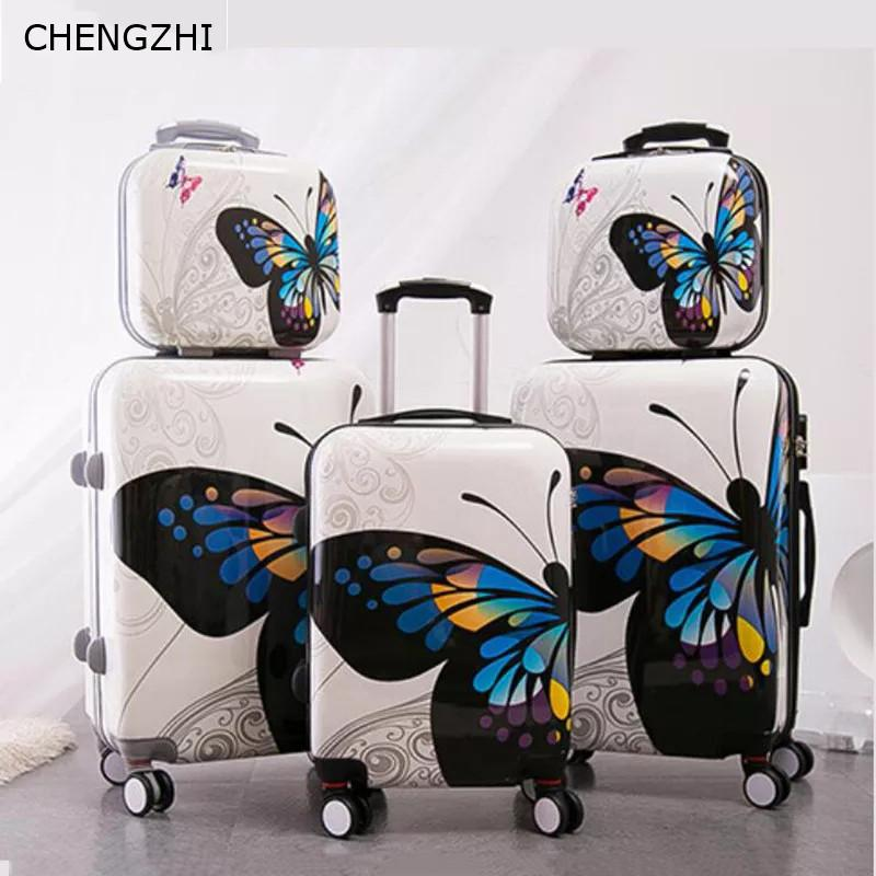 CHENGZHI 2024Inch Butterfly Rolling Luggage Set Wheel Women Travel Suitcase  Spinner High Capacity Cabin Trolley Bag Buy Bags Suitcase For Kids From