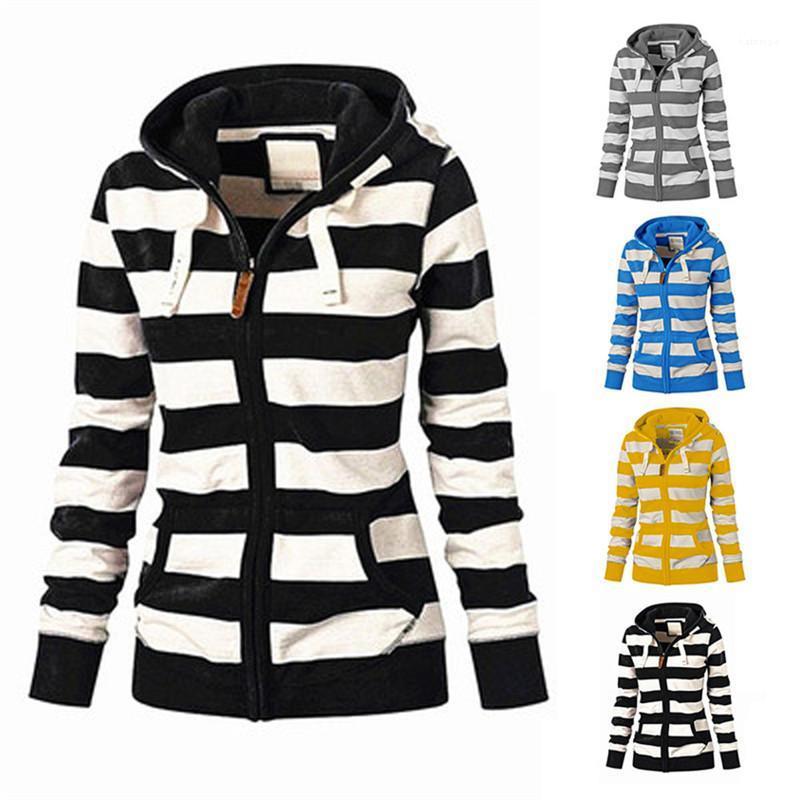 Slim com capuz casaco de lã Coats Jackets Womens Primavera manga comprida camisola das mulheres listradas Zipper Hoodies Tops Casual