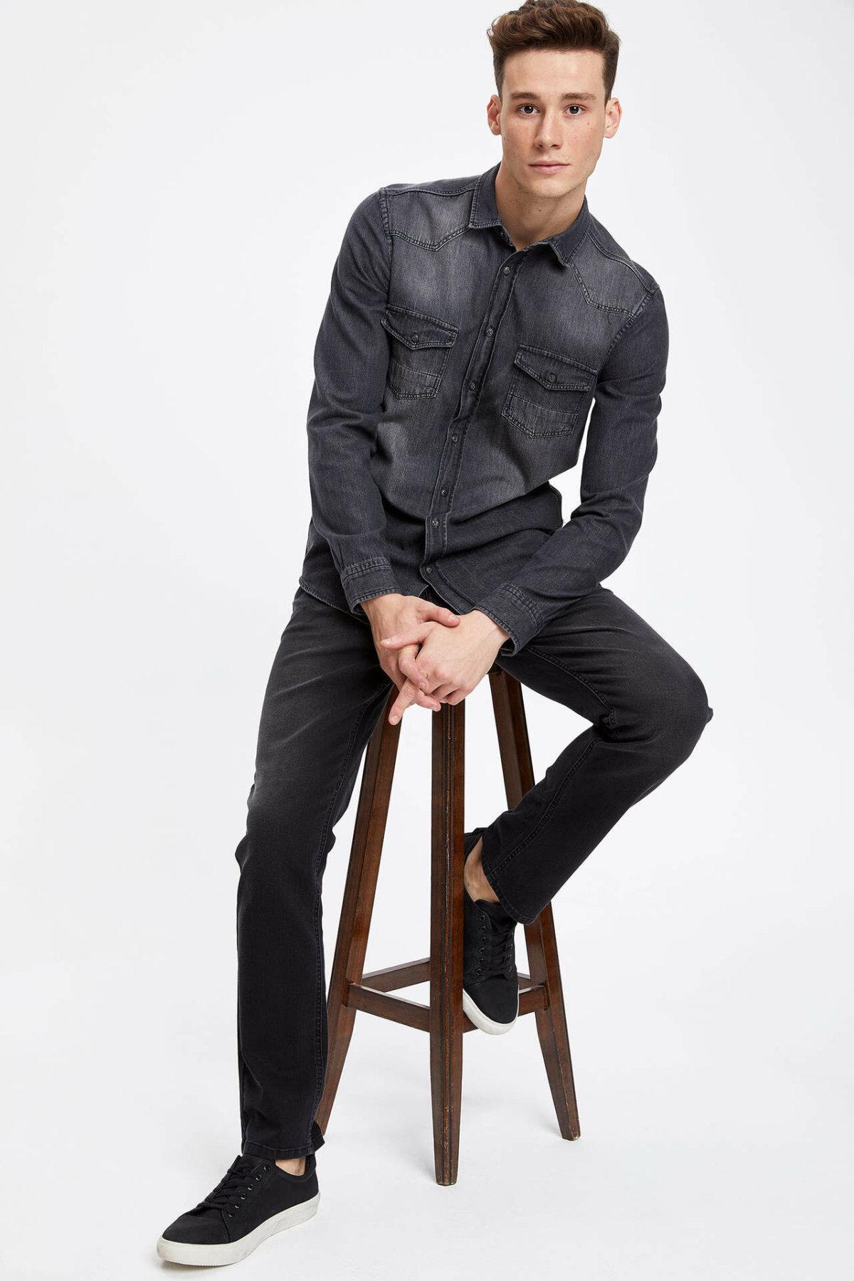DeFacto Классический мужчин черный Denim джинсы Сыпучие Mid талией джинсовой длинные брюки повседневные Омывается джинсы Брюки-K4122AZ19SP