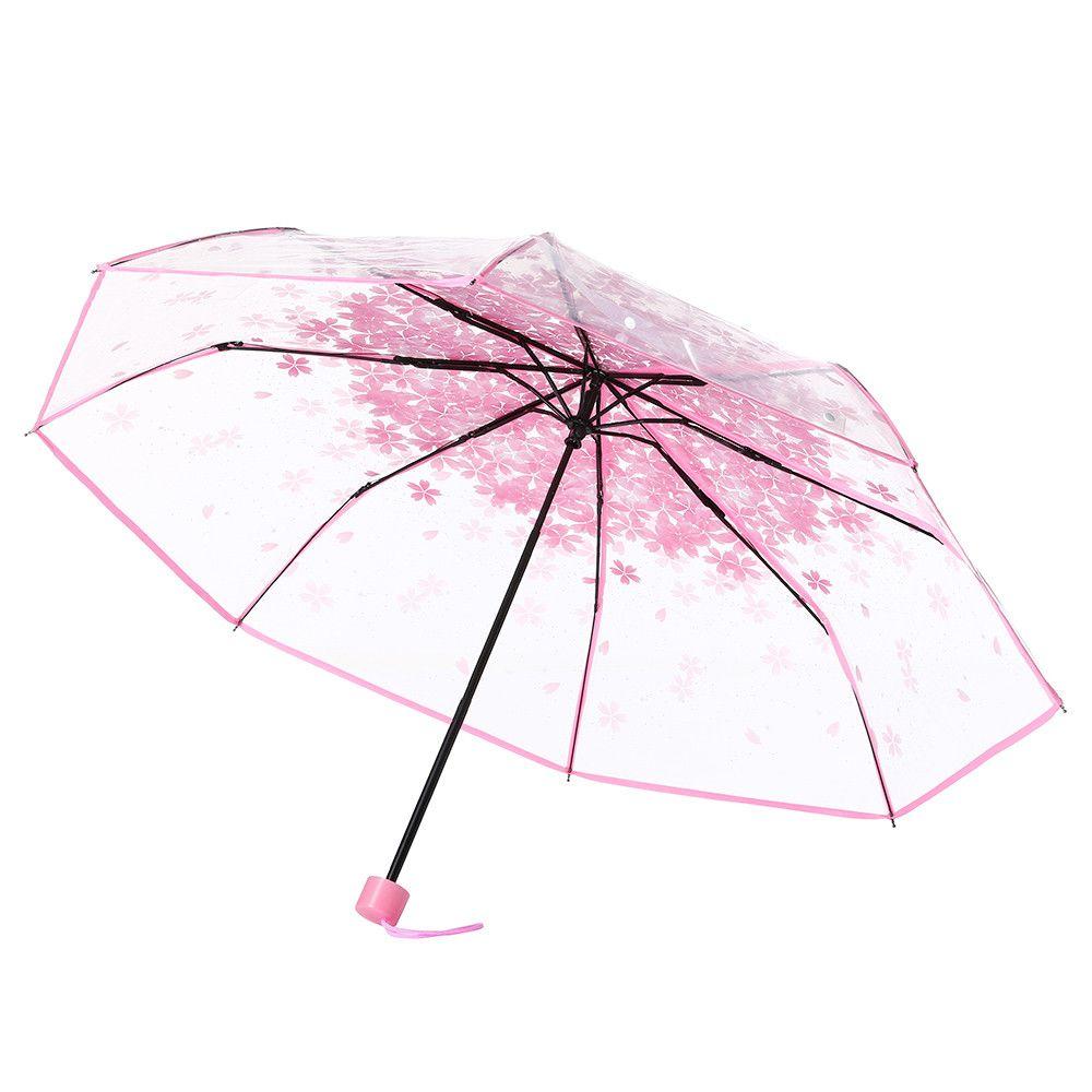Parapluies transparent pour une protection contre le vent et la pluie Effacer Sakura 3 Umbrella Fold clair champ de vision Imperméables ménages