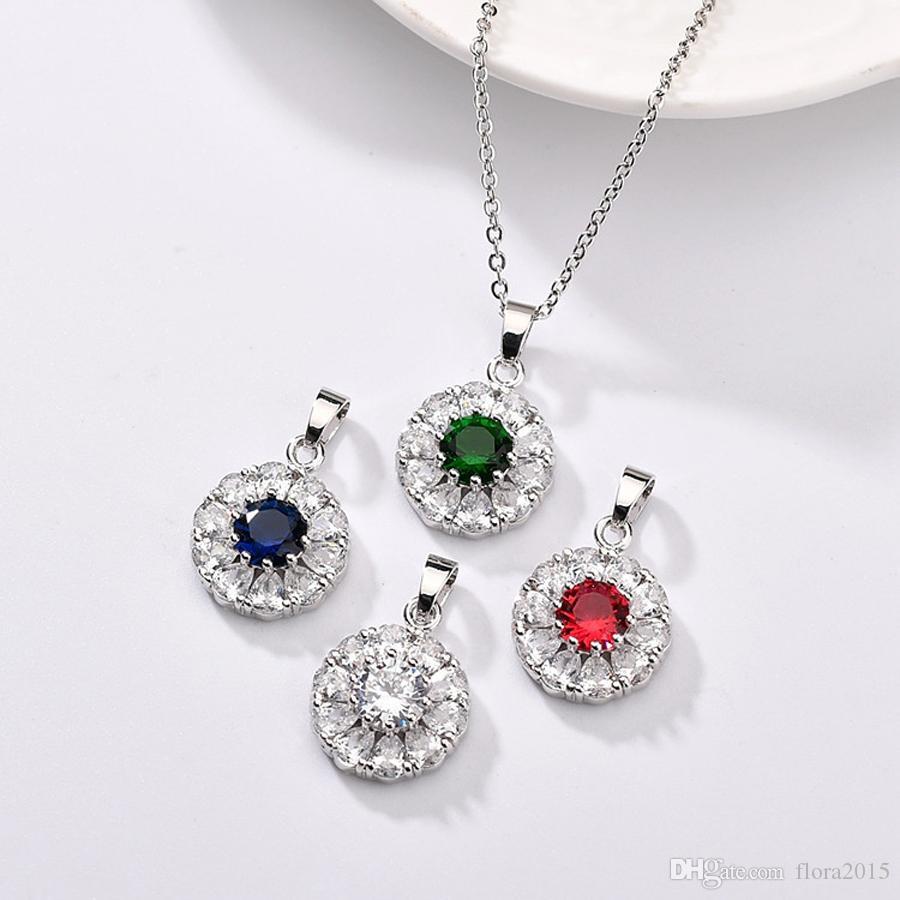 Мода круглых женщина ожерелье ювелирных изделия с кубическим цирконом для девочек свадьбы партии серебра accessores нового кулон подарка ювелирных изделий