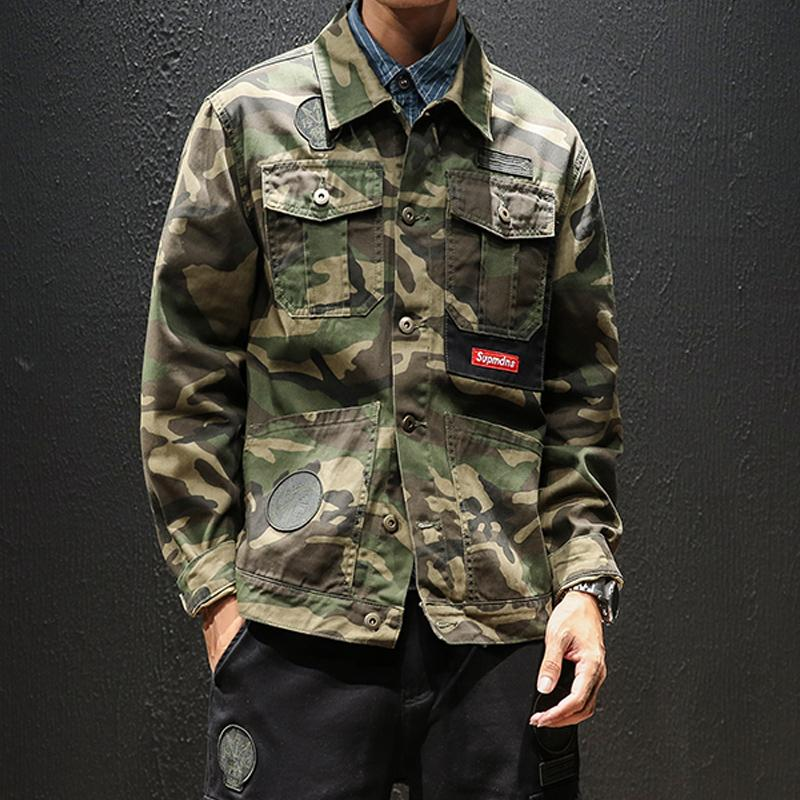 2019 Spring, Summer and Autumn Men's Hot New Fashion Trend Men's Cotton Windproof Camouflage Sports Casual Loose Slim Jacket