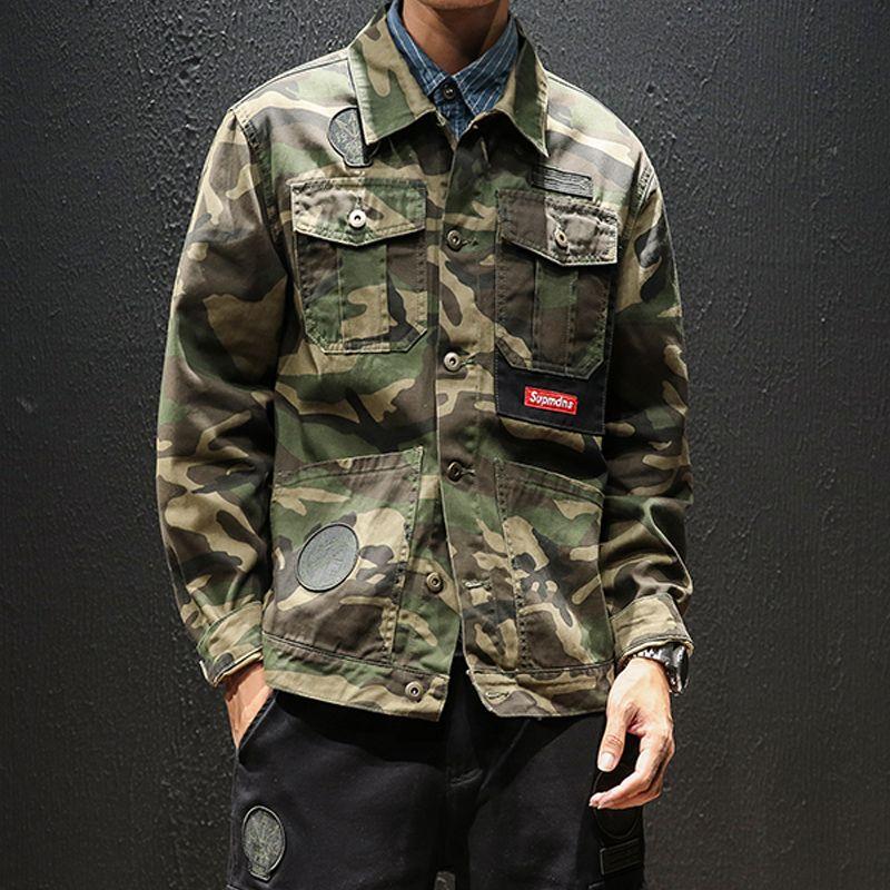 2019 printemps, été et automne hommes nouvelle coupe tendance en coton camouflage coupe-vent sport décontracté lâche veste mince