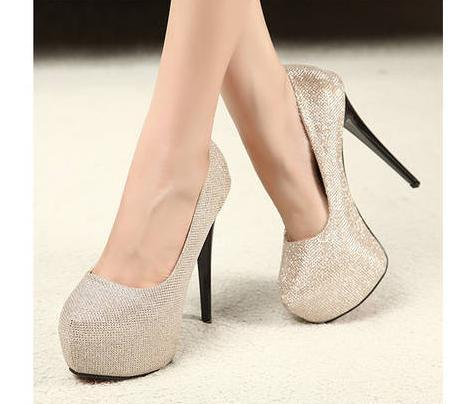 Hot Sale Evening Party Glittering High Platfrom Stiletto Heels 2 Colors Women Fahsion Sexy Pumps
