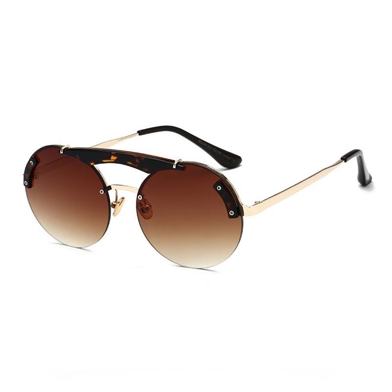 Mincl / Rétro rondes lunettes de soleil femmes sexy frameless mode dames double faisceau lunettes crème solaire tendance des lunettes de soleil décoratifs YXR