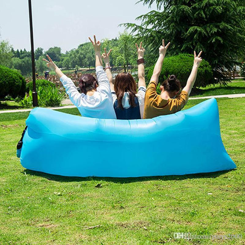 Inflável Outdoor sofá preguiçosa Air Dormir Sofá Lounger Bag Camping Beach Bed Beanbag Sofá Chair HHA57