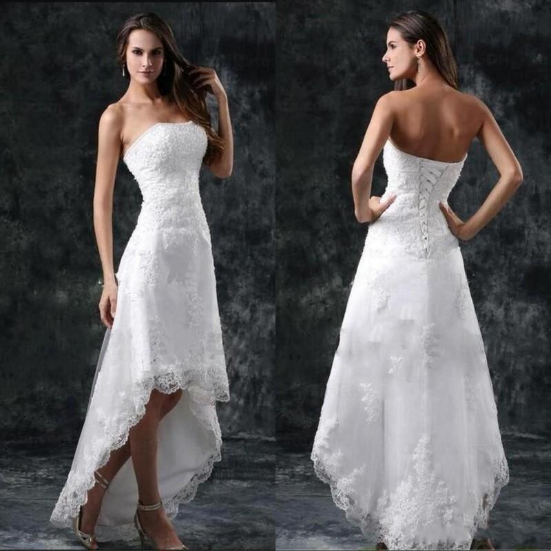 해변 높은 낮은 전체 레이스 라인 웨딩 드레스 2020 Strapless Appliques 짧은 공식 레이스 업 뒤로 vestidos 신부 가운