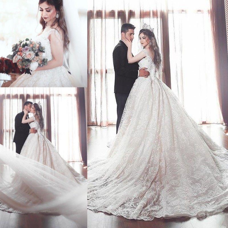 Luxury Wedding Dresses Sheer V-Neck Spaghetti Chapel Train Arabic Middle East Bridal Gowns Plus Size Customized