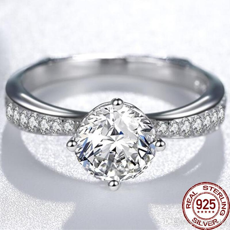 100% 925 Sterling Silver Crystal CZ Diamond Wedding Finger Fashion Luxury Women Engagement Jewelry Flower Rings XR258