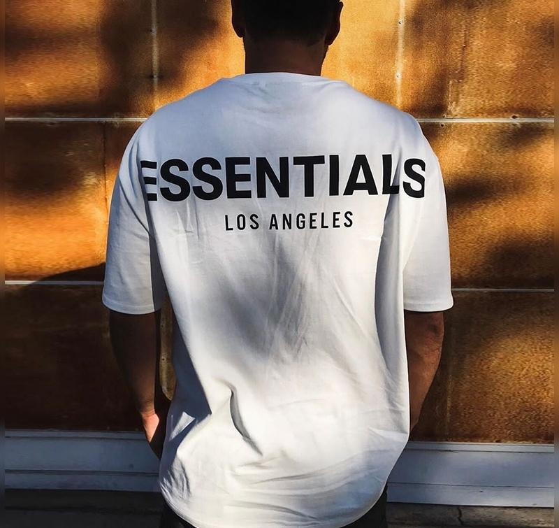 19FW FOG temor de Deus Essentials 3M reflexiva T Los Angeles manga curta Homens Mulheres Summer Street Casual T-shirt Skate HFYMTX612