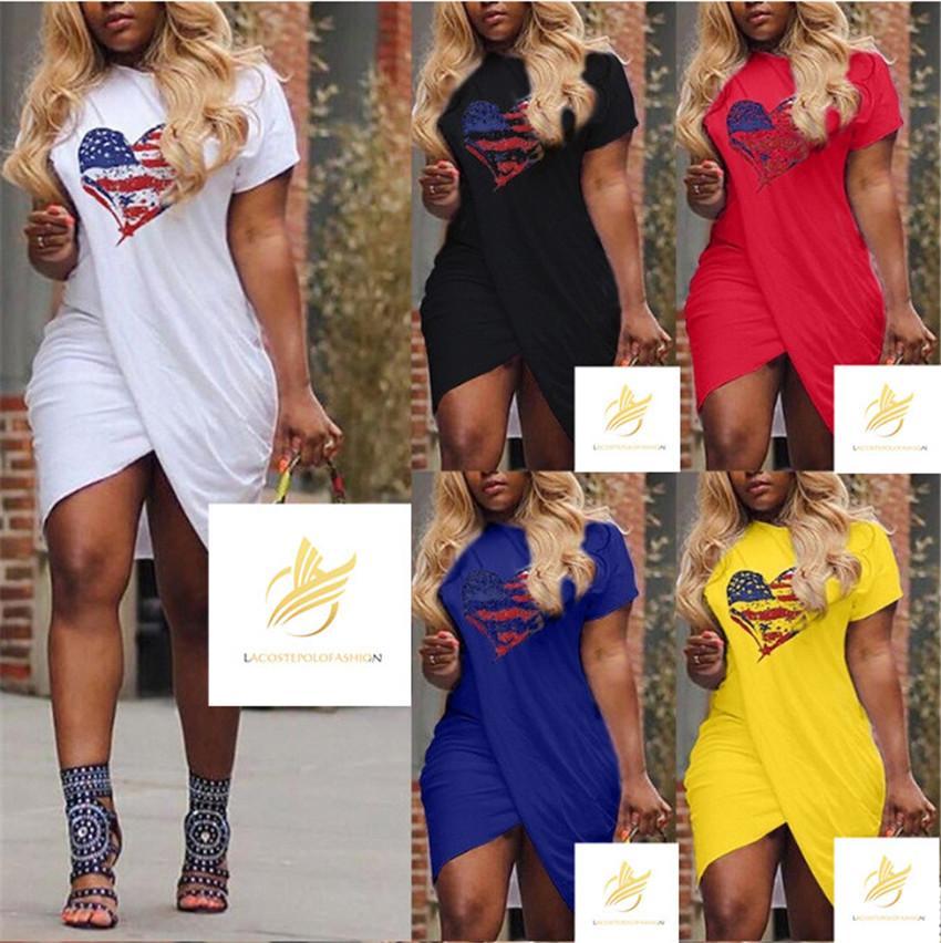 AMORE donne vestono Croce Estate Designer Maniche corte di colore della caramella Abiti casual Plus Size Abiti Designer 5XL donna