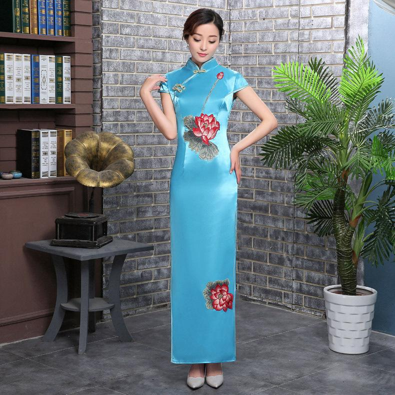 Blu Womens Long Cheongsam Vintage stile cinese mandarino collare Abiti Summer Dress Qipao Slim partito Vestido S-4XL